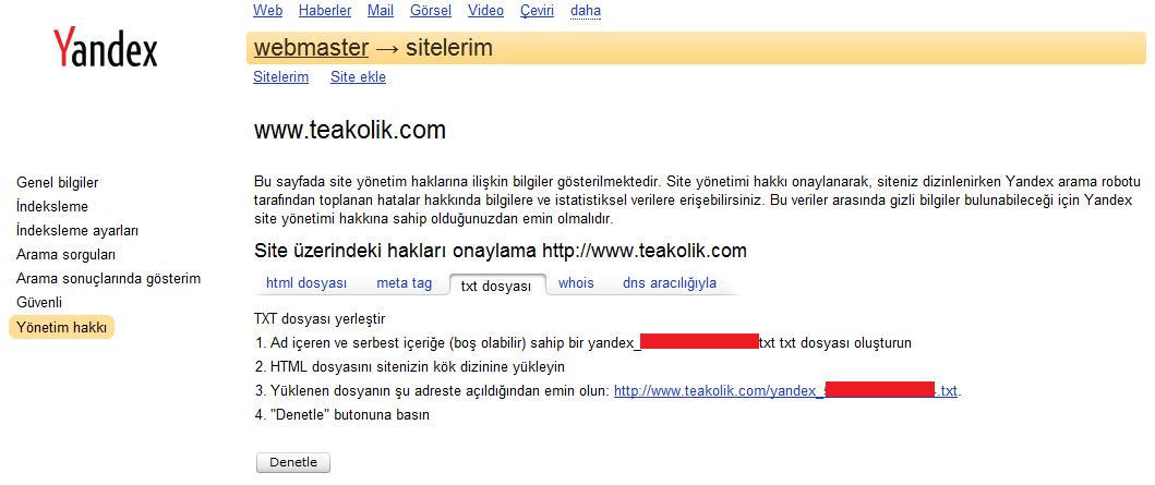 site ekleme,Yandex Webmaster Tools