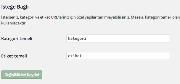 Wordpress'te URL yapısı bu şekilde oluşturuluyor.